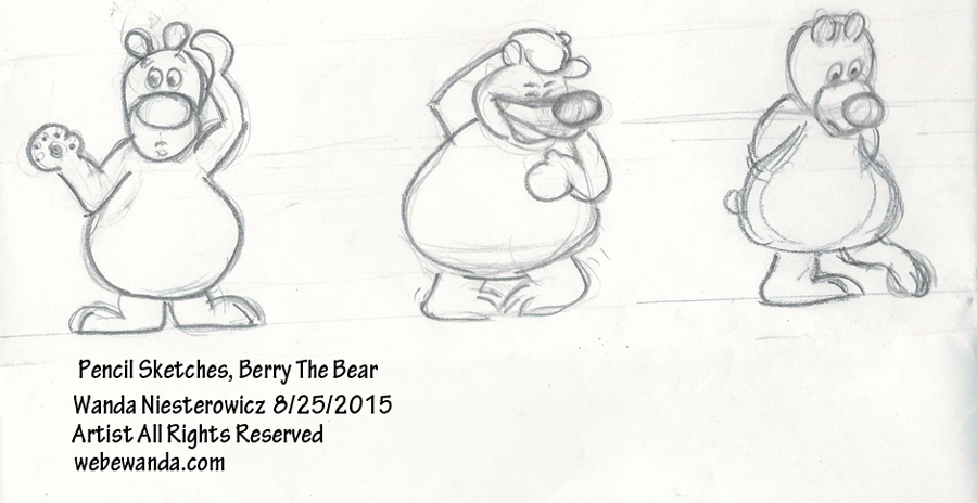Berry The Bear Pencil Drawings by Wanda Niesterowicz