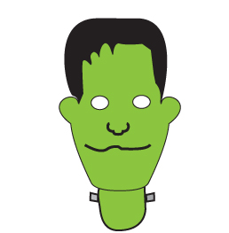 How to draw a cartoon Frankenstein, Head step two