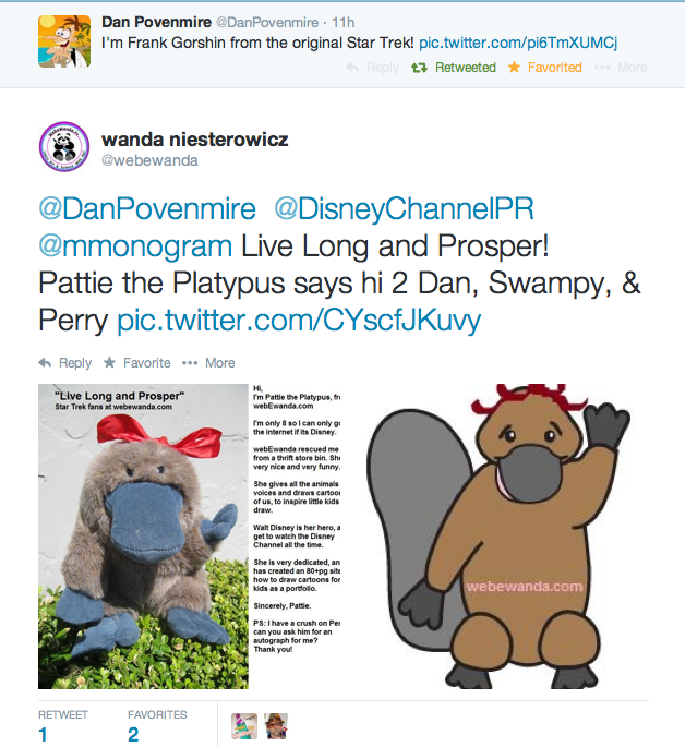 Twitter Favorite from Disney's Producer Swampy Marsh of Phineas and Ferb